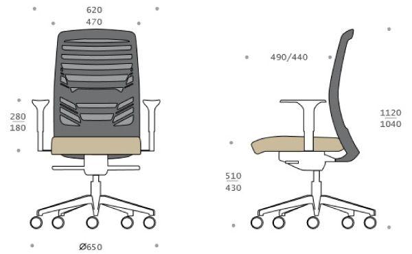 Medidas silla de trabajo Louise o telma de somomar