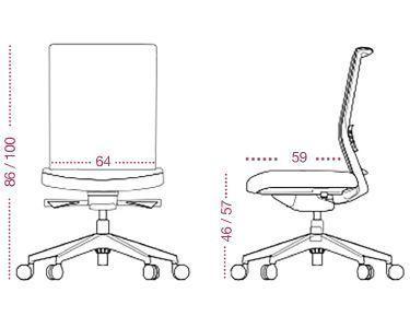 Medidas sillón confidente astor fijo de tecno ofiss