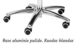 Base aluminio pulido con ruedas 50mm. blandas
