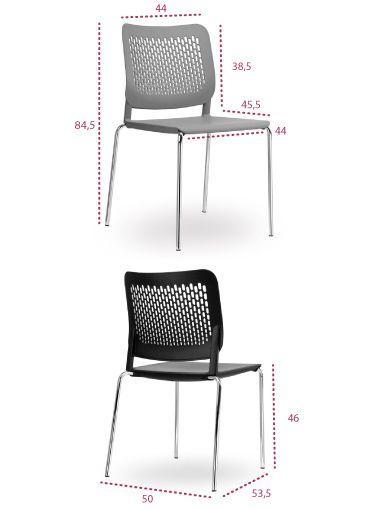 Medidas silla oficina Kali 4 patas de tecno ofiss