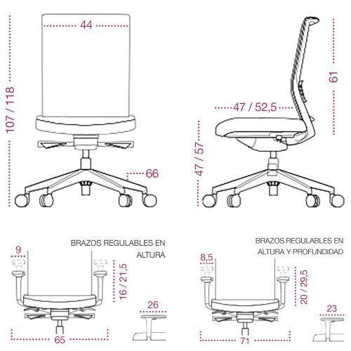 Medidas sillón despacho kind dirección de tecno ofiss