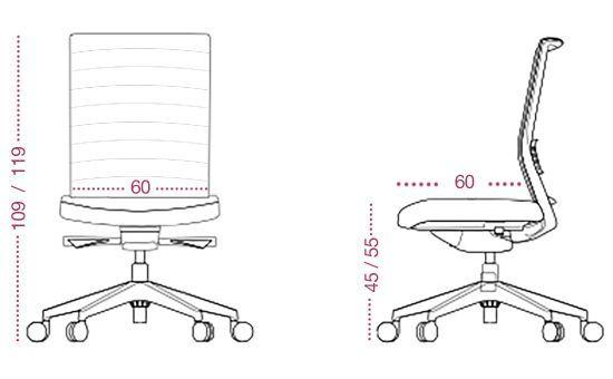 Medidas sillón oficina lena para directivos de tecno ofiss