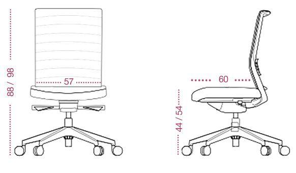 Medidas sillón oficina lena multifunción de tecno ofiss