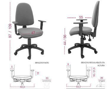 Medidas silla oficina OCP