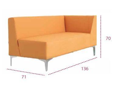 Medidas sofá modular curve, módulo recto con brazo a izquierda o derecha de universal