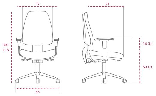 Medidas silla oficina adapta w de vincolo