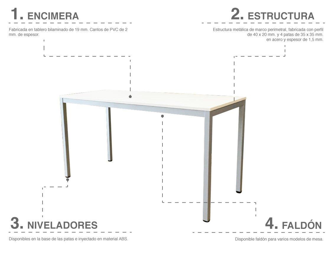 Detalles características de la mesa de oficina Line de KEsta